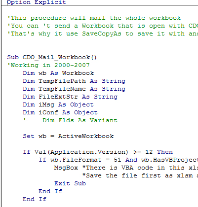 Send Email Vba Code Excel Examples