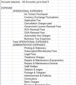 travel agent balance sheet
